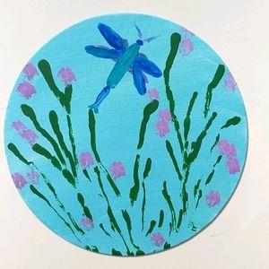 Original art dragonfly flower painting round
